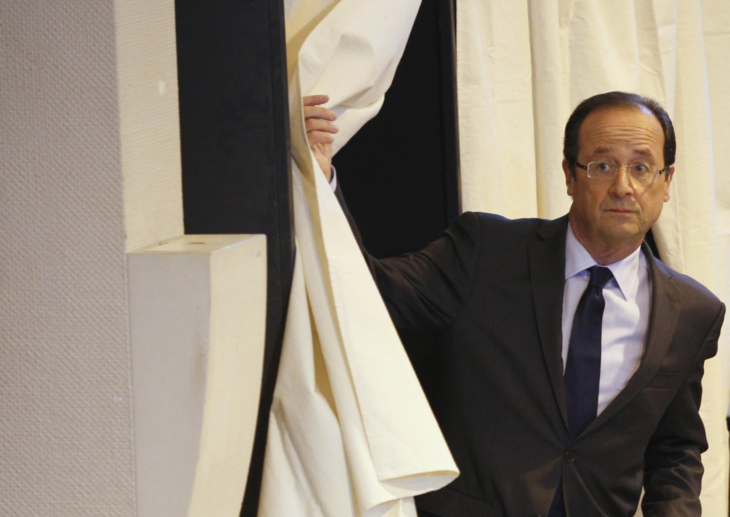 François Hollande votes in Tulle, France
