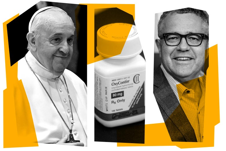 Pope Francis, bottle of OxyContin, and Jeffrey Toobin