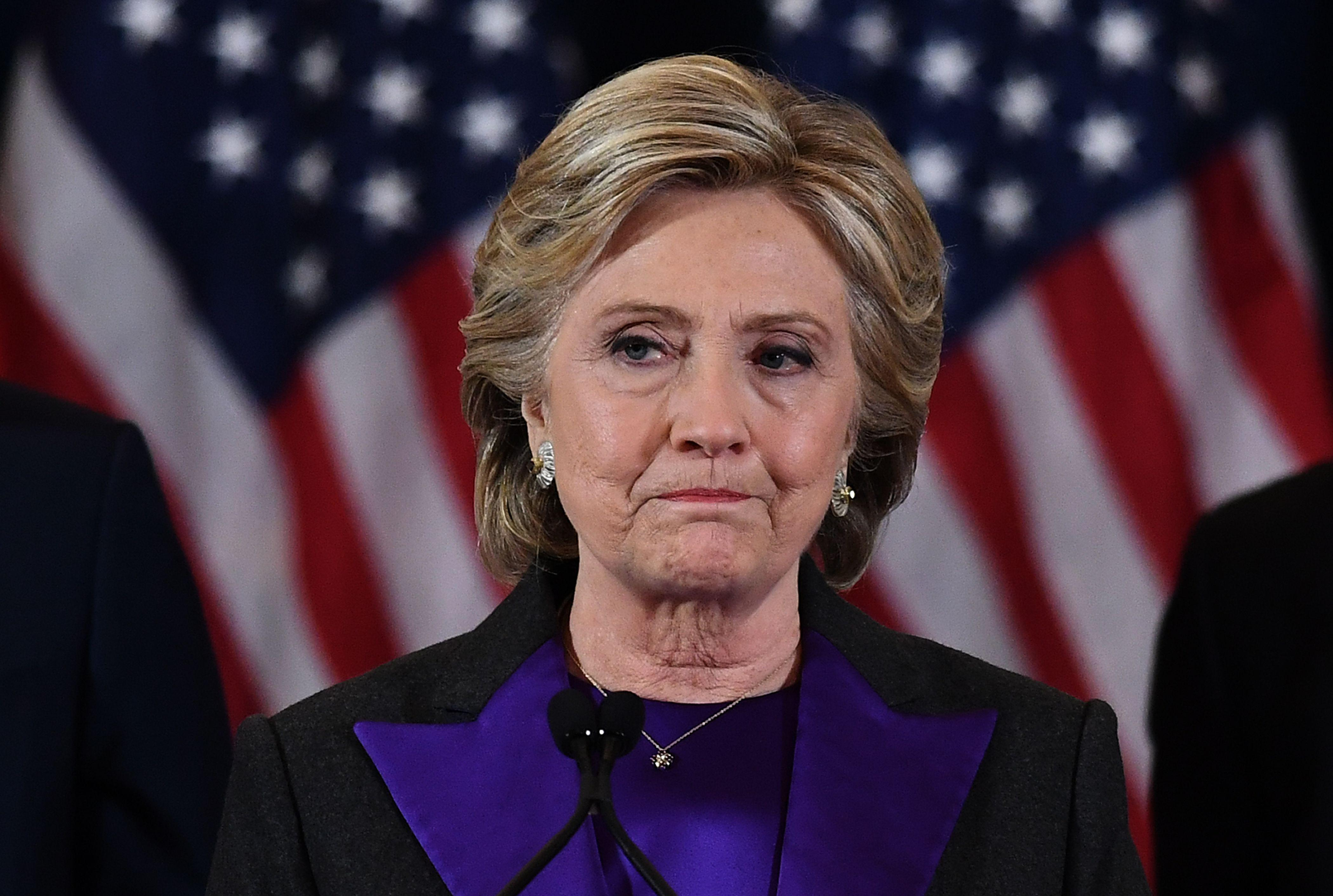 Hillary Clinton makes a concession speech after being defeated by Donald Trump in New York on Nov. 9, 2016.