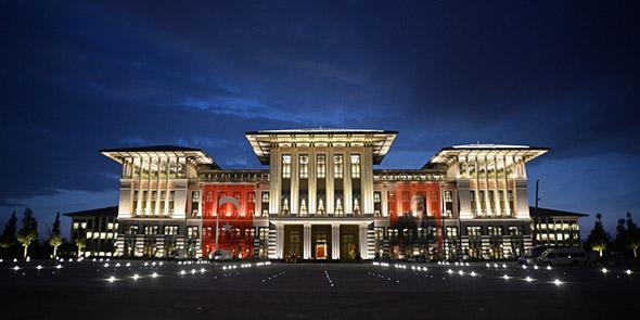 """The Ak Saray or """"White Palace"""" is a $615 million, 1,100 room structure on the edge of Ankara that serves as Erdogan's new official residence."""