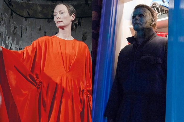 Tilda Swinton in a red dress. Masked killer Michael Myers.