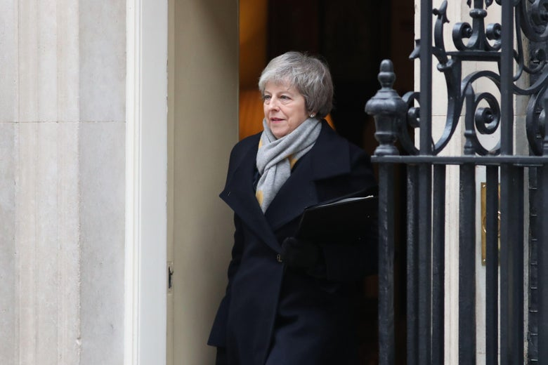 Britain's Prime Minister Theresa May leaves Downing street after the weekly cabinet meeting in London on January 15, 2019.