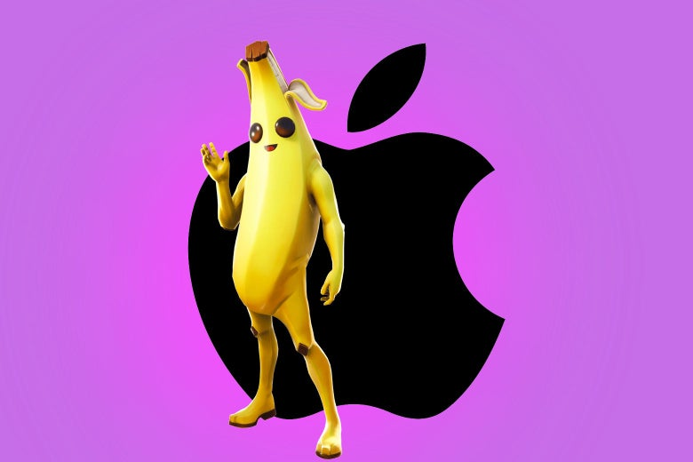 The Fortnite character Peely and the Apple logo.