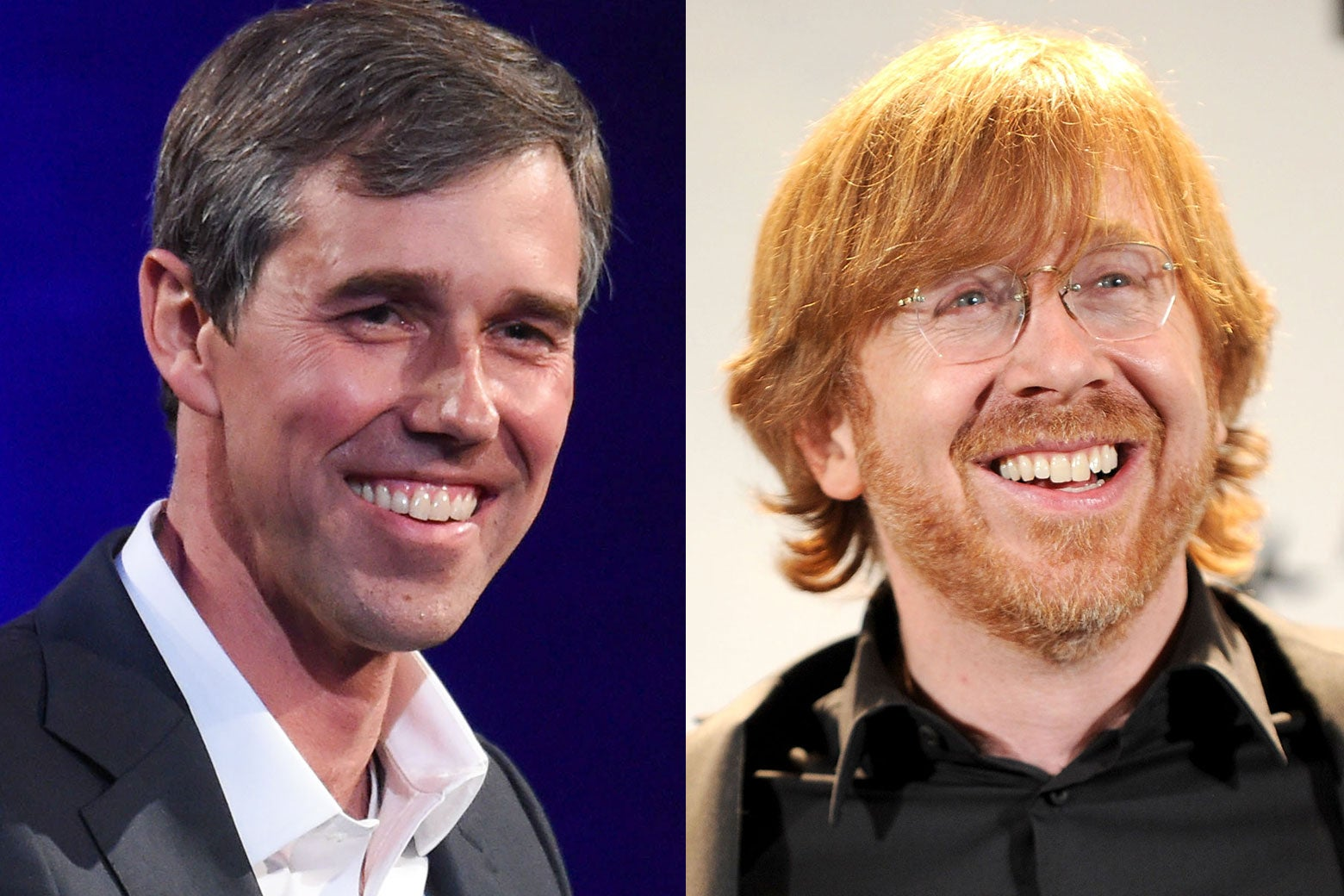 O'Rourke and Anastasio seen smiling in close-up.