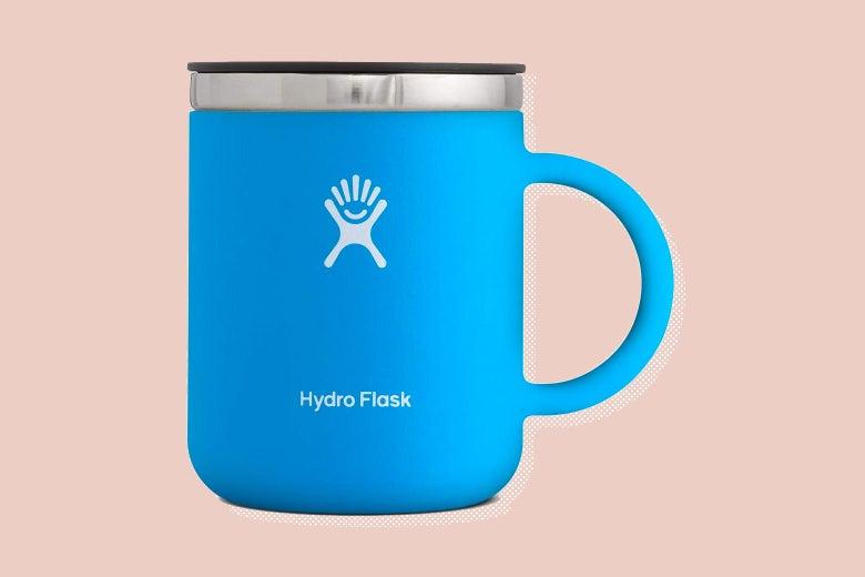 Blue stainless steel travel mug