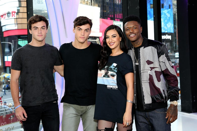 TRL Hosts Ethan Dolan, Grayson Dolan, Tamara Dhia, and DC Young Fly attend the MTV TRL Press Junket on September 27, 2017.