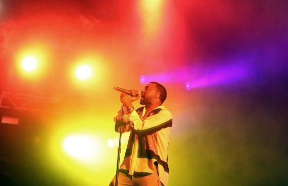 Kanye West performs on stage at Big Day Out 2012 at the Sydney Showground on January 26, 2012 in Sydney, Australia.