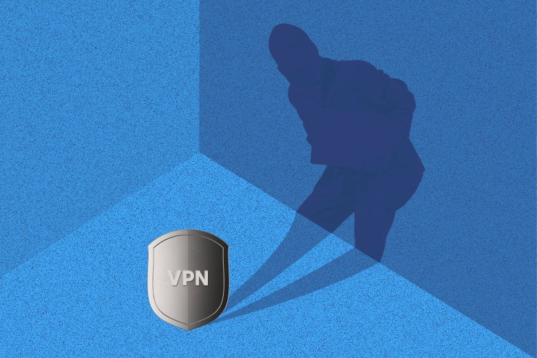 """A shield emblazoned """"VPN,"""" with a shadow of a person emerging from it."""