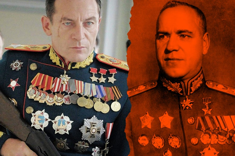 At left: Jason Isaacs as Georgy Zhukov in the film. At right: the real Georgy Zhukov.