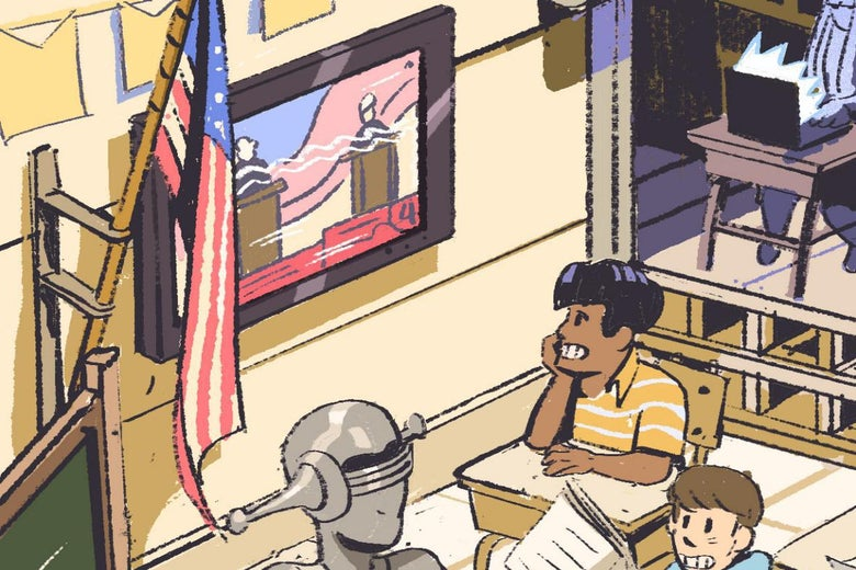A kid in a classroom with a robot and another kid looks at a screen on a wall.