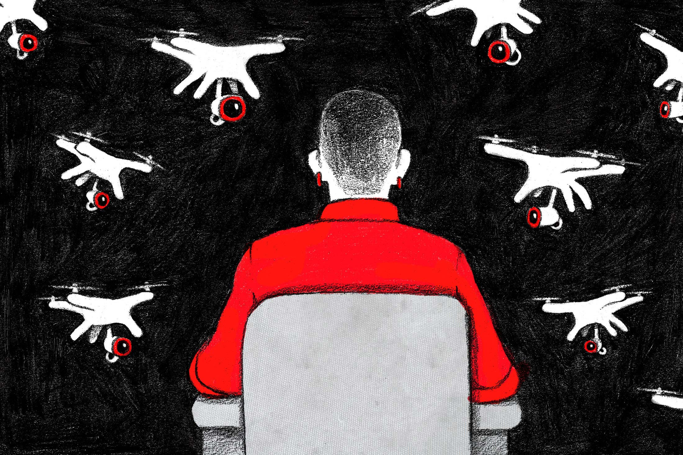 A woman looks out at a swarm of surveillance drones.