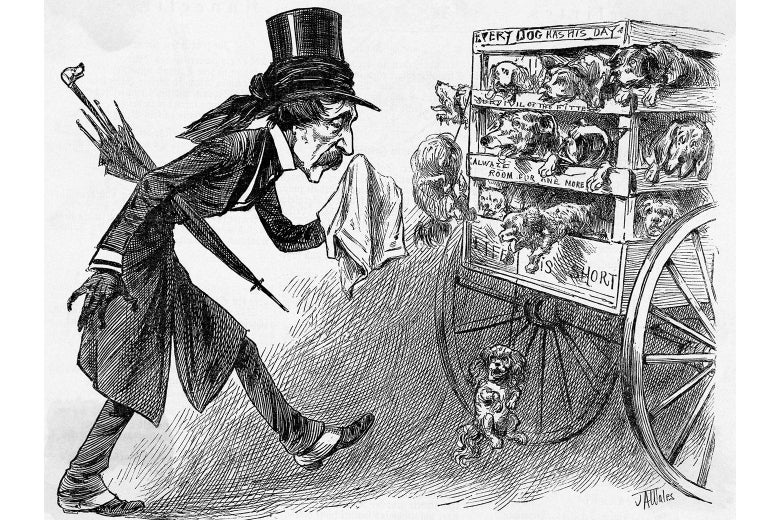 A black and white drawing of a man in top hat, with an umbrella, holding a napkin to his nose as he walks behind a cart filled with dogs.