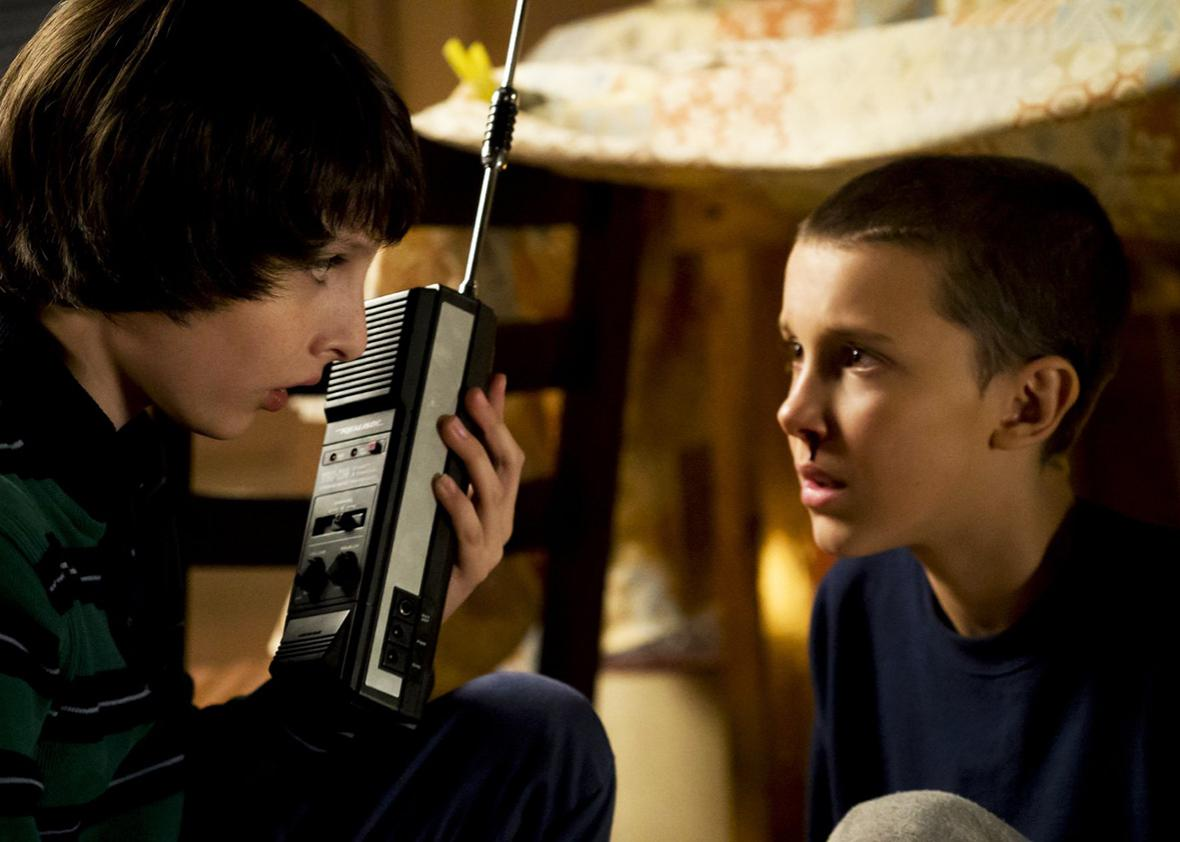 Millie Bobby Brown and Finn Wolfhard in Stranger Things.