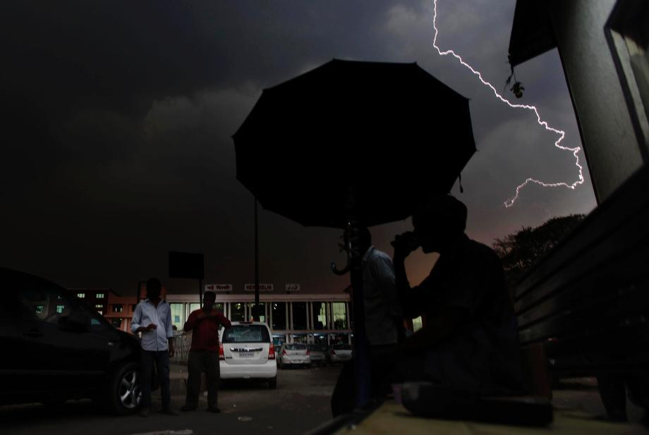 Lightening strikes New Delhi, India as ominous clouds and sudden rain descended the city on April 2, 2013.