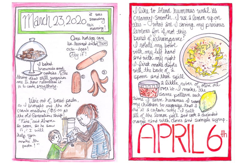 Hand drawn calendar pages for March 23, 2020.