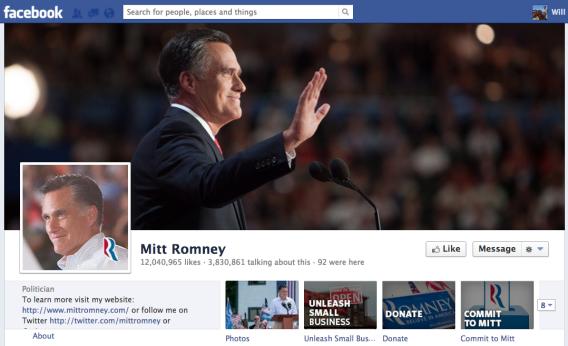Mitt Romney's Facebook fan page