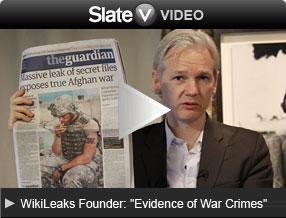 "WikiLeaks Founder: ""Evidence of War Crimes"". Click image to go to Slate V."