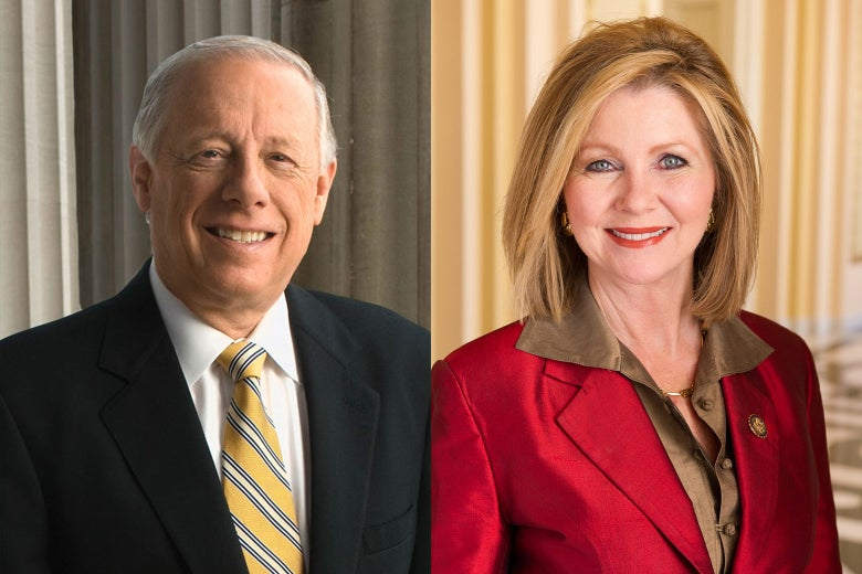 Official Tennessee state photograph of Phil Bredesen and Marsha Blackburn, member of the United States Congress.
