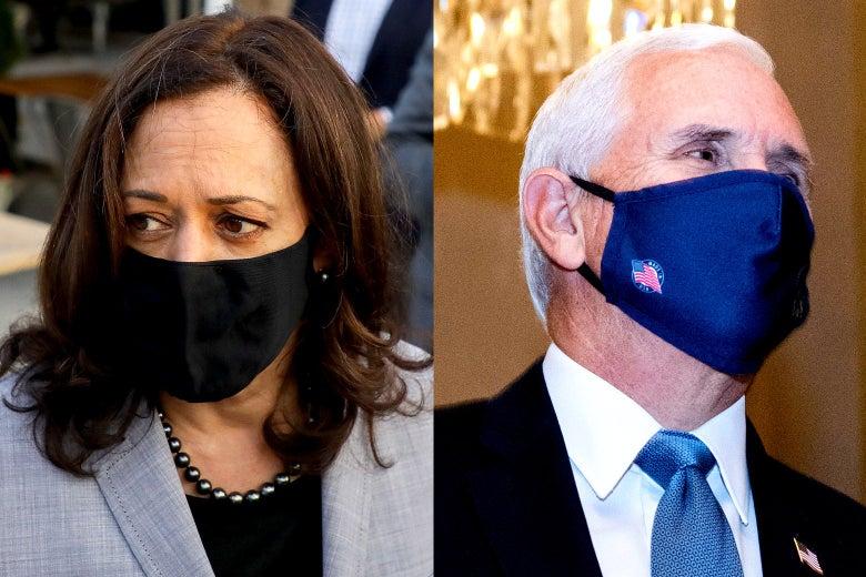 Kamala Harris and Mike Pence wearing masks.