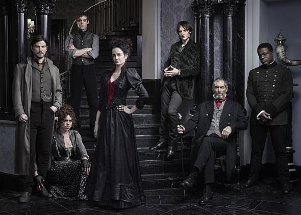 The cast of Penny Dreadful. From left to right: Josh Hartnett, Billie Piper, Harry Treadaway, Eva Green, Reeve Carney, Timothy Dalton, and Danny Sapani.