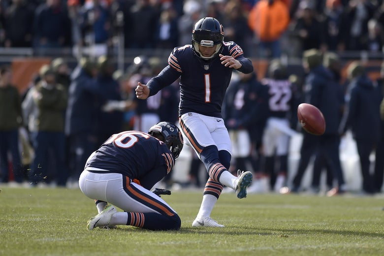 CHICAGO, IL - NOVEMBER 11:  Kicker Cody Parkey #1 of the Chicago Bears misses the field goal during the game against the Detroit Lions at Soldier Field on November 11, 2018 in Chicago, Illinois.  (Photo by Quinn Harris/Getty Images)