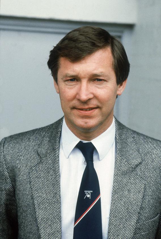 Portrait of Aberdeen manager Alex Ferguson during a Scottish Premier Division match held in 1983 at Pittodrie Stadium, in Aberdeen, Scotland.
