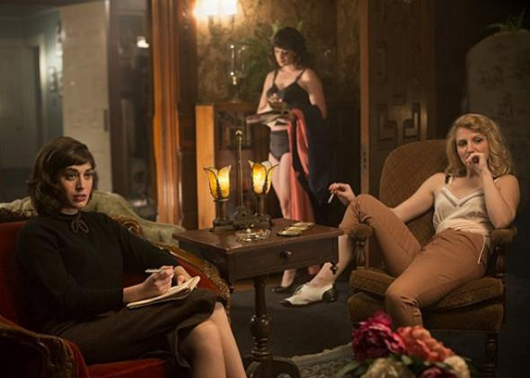 Lizzy Caplan and Annaleigh Ashford in Masters of Sex.