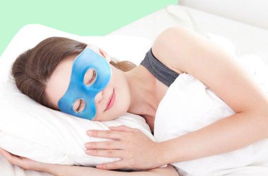 Woman wearing a Plemo Spa Eye Mask while sleeping.