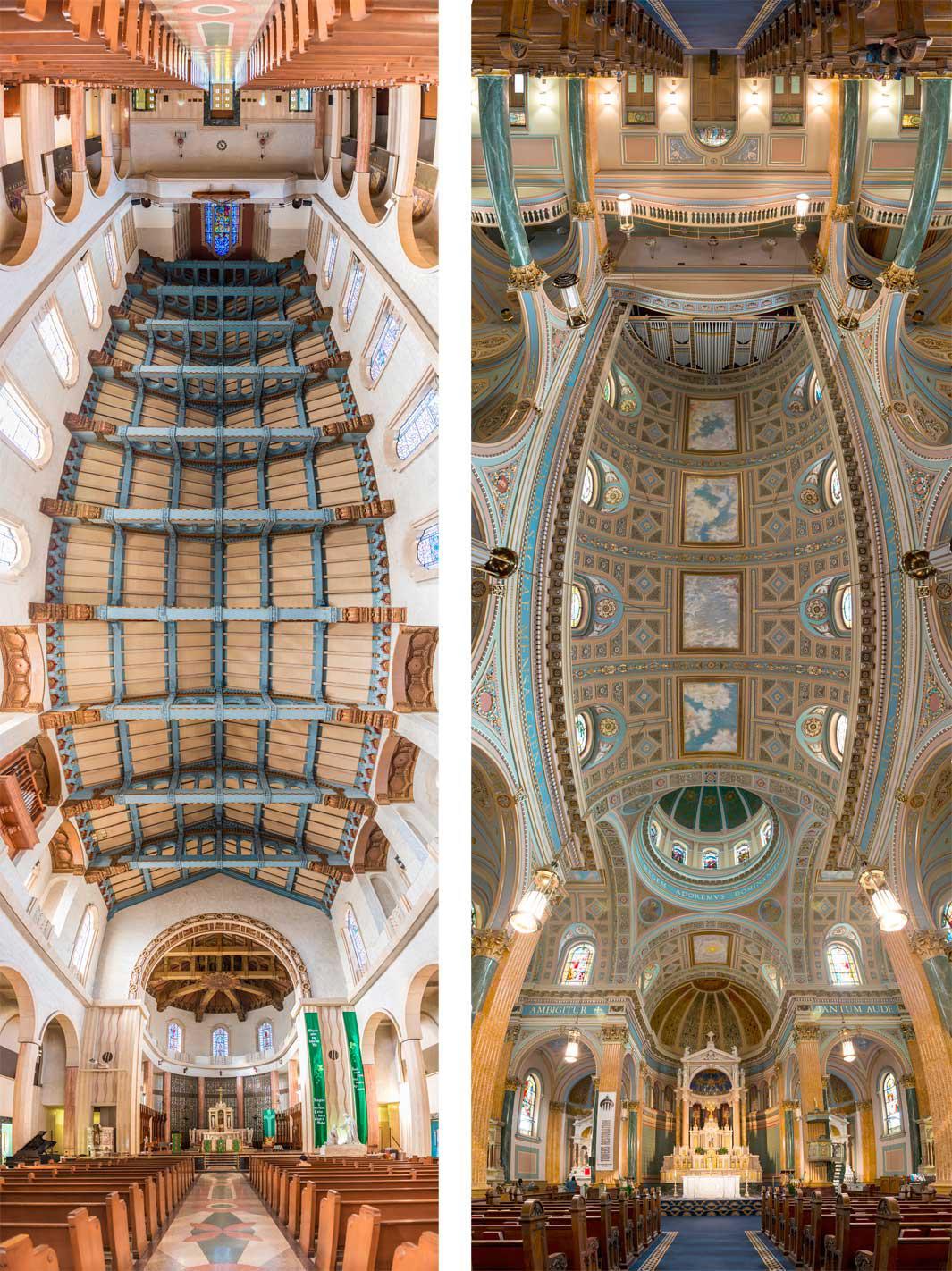 Left: Saint Vincent de Paul, Los Angeles. Right: Saint Jean Baptiste, New York