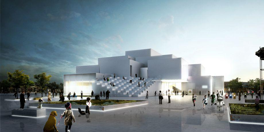 Lego House in Billund, Denmark, begins construction by laying giant