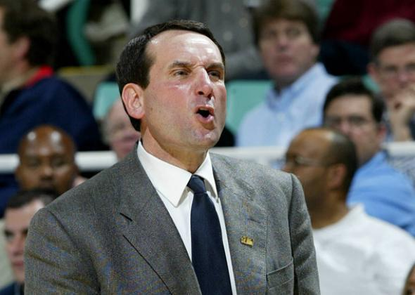 Head Coach Mike Krzyzewski of the Duke Blue Devils yells during their game.