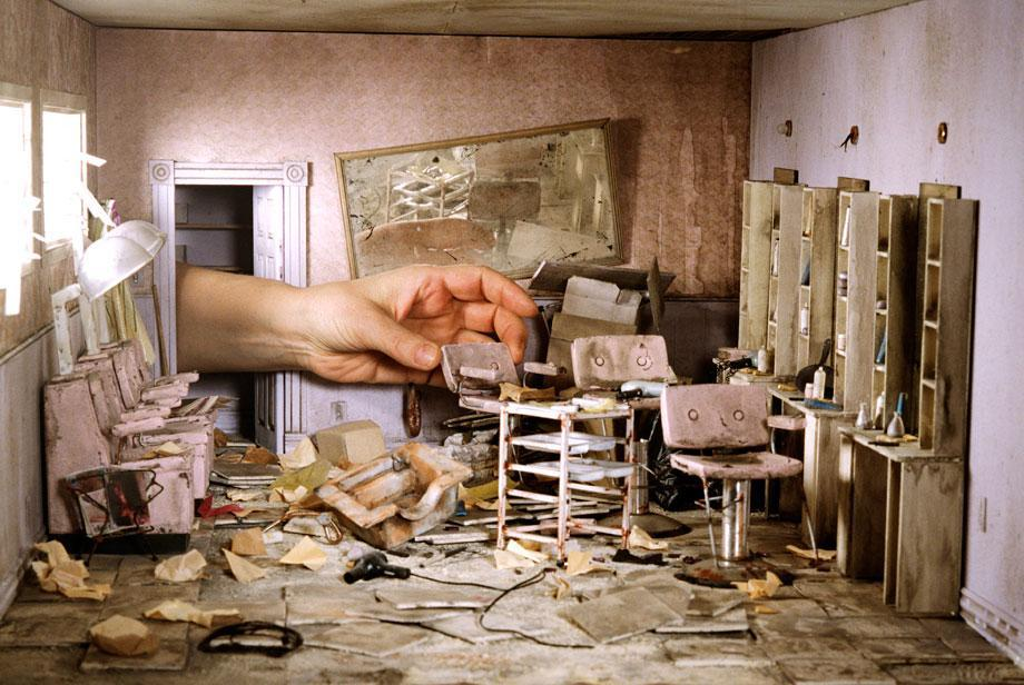 Lori Nix's photos of tiny dioramas of a post apocalyptic city.