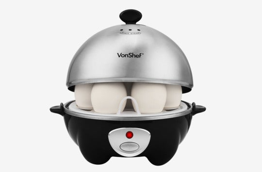 VonShef 7-Egg Electric Cooker Stainless Steel With Poacher & Steamer Attachment.