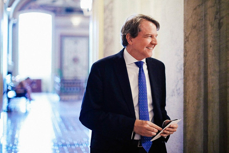 Don McGahn in a hallway at the Capitol.