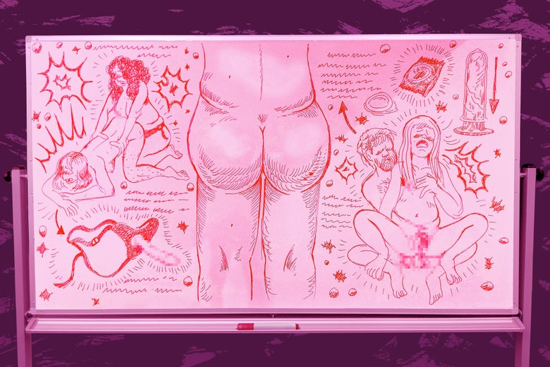 White board drawing of the mechanics of anal sex, with a big drawing of a butt in the middle of the composition.