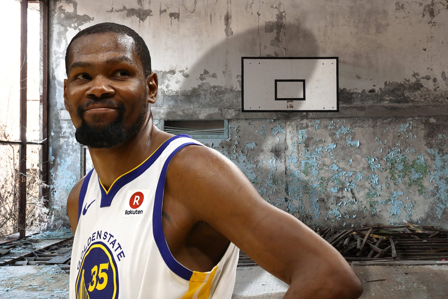 Kevin Durant in an abandoned basketball court.