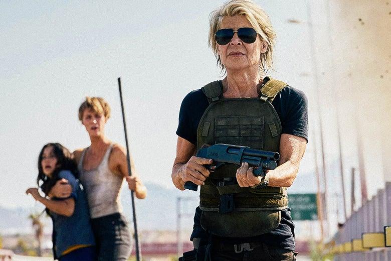 Natalia Reyes, Mackenzie Davis, and Linda Hamilton in Terminator: Dark Fate.