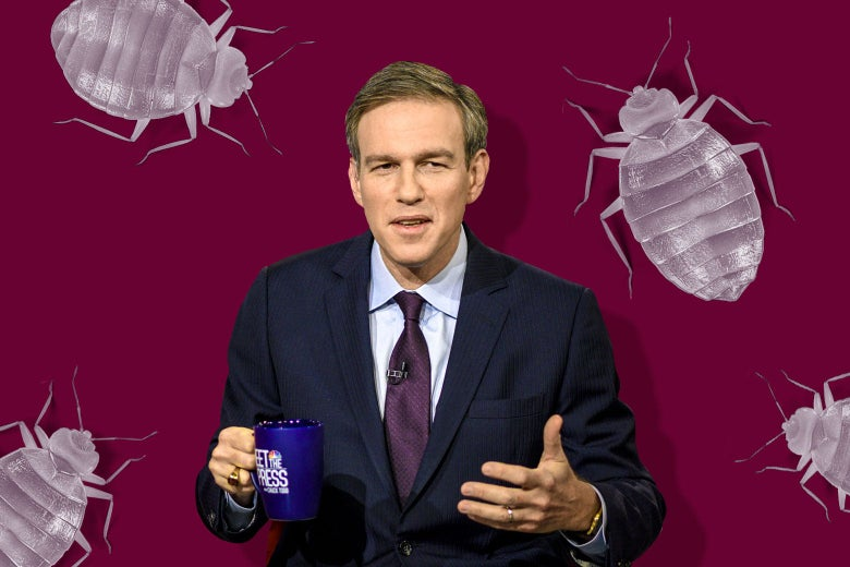 Stephens, seated and holding a cup of coffee, is surrounded by images of bedbugs.