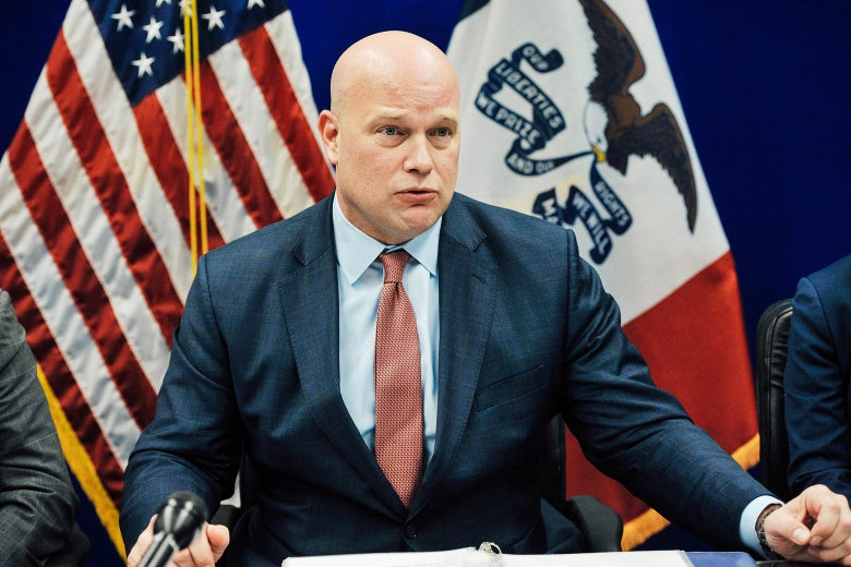 Acting Attorney General Matthew G. Whitaker gives brief remarks on Wednesday in Des Moines, Iowa.