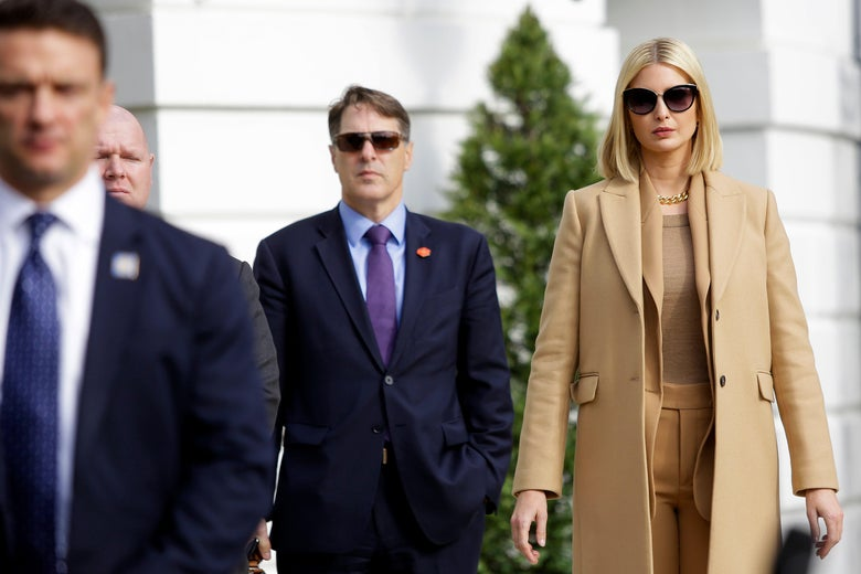 Ivanka Trump wears sunglasses and a coat while standing on the South Lawn of the White House in Washington, DC, Nov. 20, 2019.