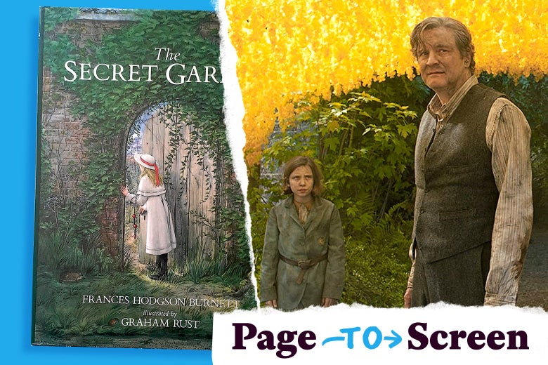 The Secret Garden book cover, and Colin Firth and Dixie Egerickx in a scene from the book's film adaptation