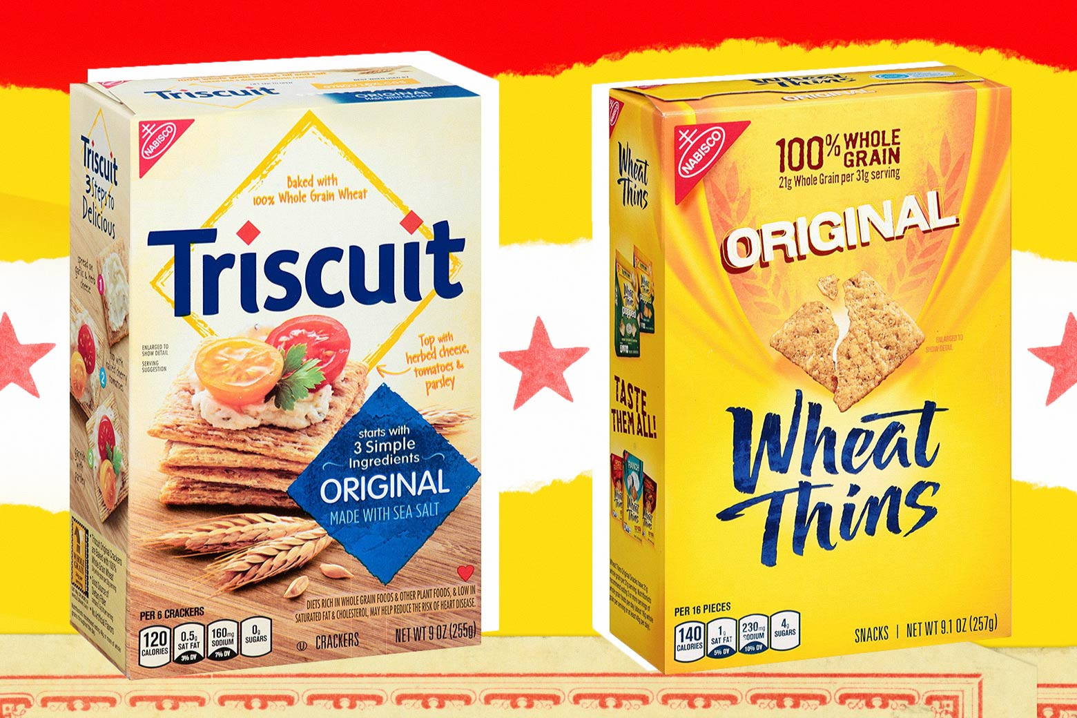 Photo illustration: a box of Triscuits and a box of Wheat Thins. Photo illustration by Slate.