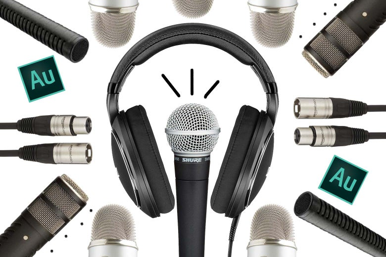 Collage of podcasting equipment.