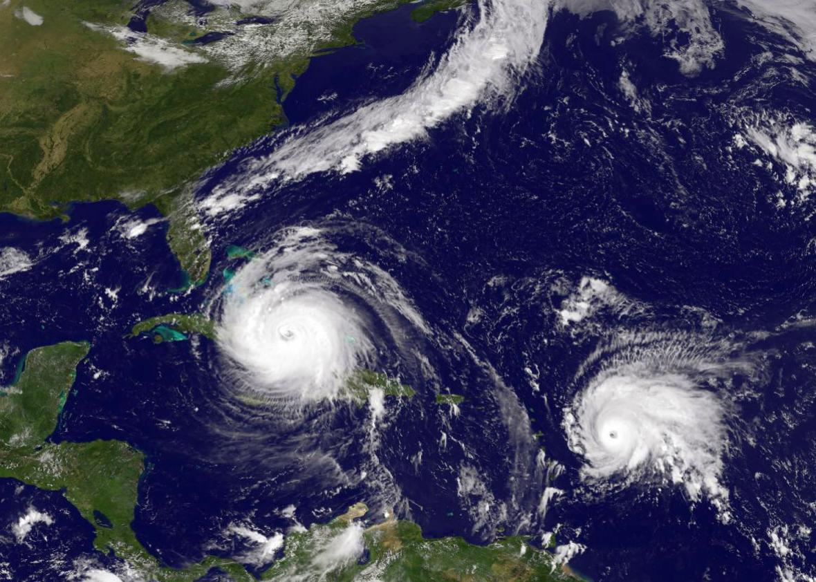 In this NASA/NOAA handout image, NOAA's GOES satellite shows Hurricane Irma in the Caribbean Sea and Tropical Storm Josein the Atlantic Ocean taken at 15:45 UTC on September 08, 2017.