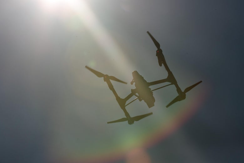 NEW YORK, NY - AUGUST 5: A drone hovers in the sky during practice day at the National Drone Racing Championships on Governors Island, August 5, 2016 in New York City. More than 100 pilots are vying for fifty thousand dollars in prize money. (Photo by Drew Angerer/Getty Images)