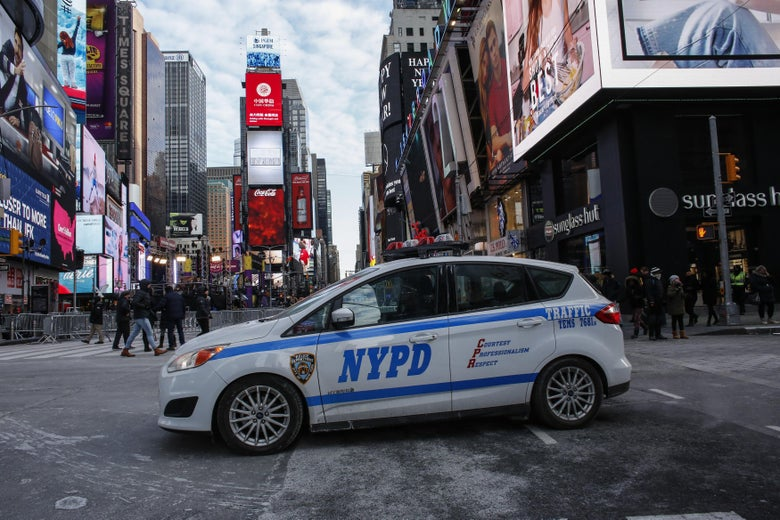 A New York Police Department (NYPD) car is parked in Times Square prior to New Year's Eve celebrations on December 31, 2017 in New York City.