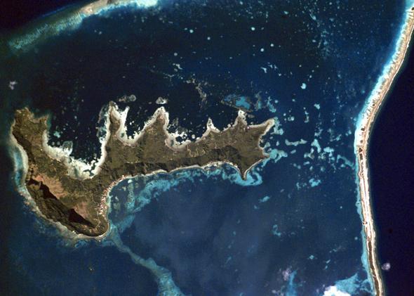 Satellite view of the main island of Mangareva.