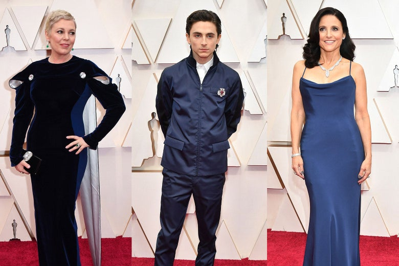 Collage of Olivia Colman, Timothee Chalamet, and Julia Louis-Dreyfus wearing blue on the red carpet.
