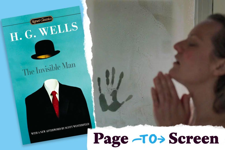 "Left: a copy of H.G. Wells' The Invisible Man. Right: Elisabeth Moss in a shower with a handprint visible in the fogged glass. In the corner, a logo reads ""Page to Screen."""