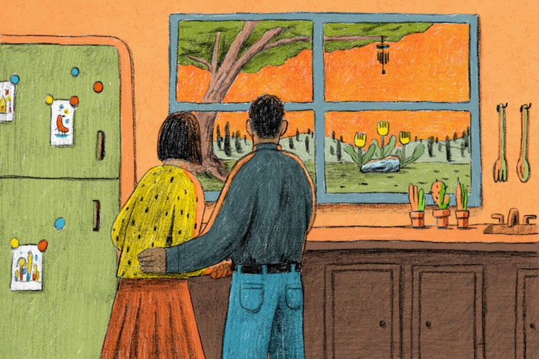 Illustration of a couple looking out their kitchen window at their baby's grave site.